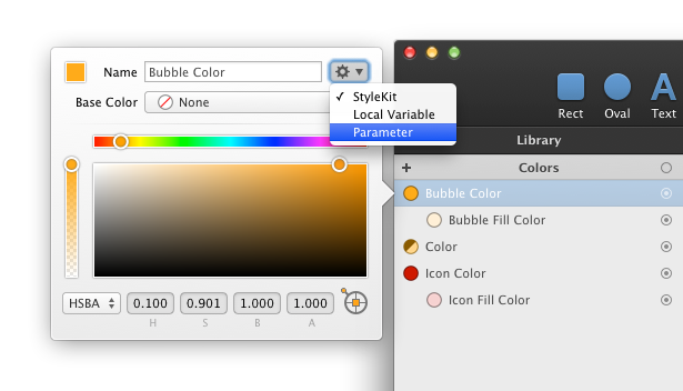 How to configure library item such as color to behave as StyleKit or Symbol parameter