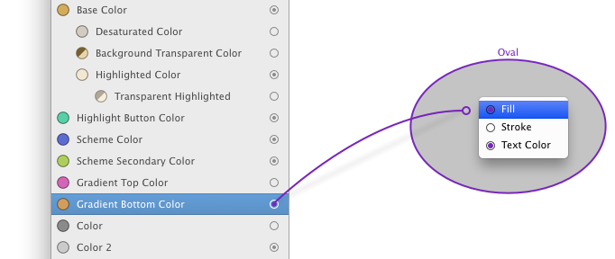 Assigning a color with connection
