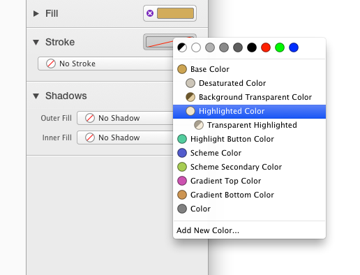 Assigning a color with Inspector well