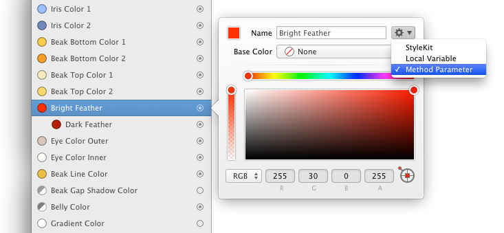 Parametric Colors in PaintCode
