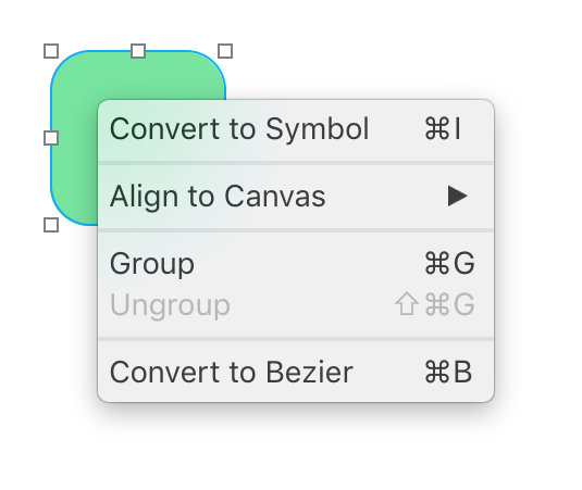 Shape Contextual Menu