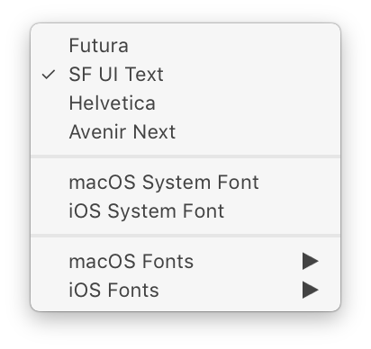 Menu for Fonts