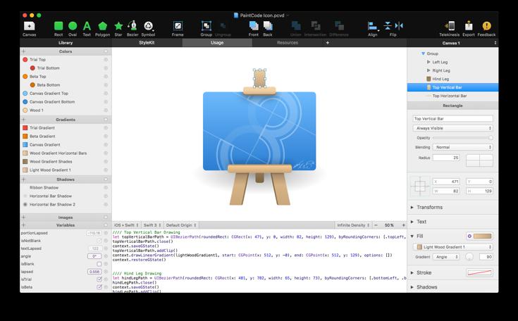 PaintCode 3.4.8 Mac 破解版 Mac上强大的iOS矢量绘图编程软件